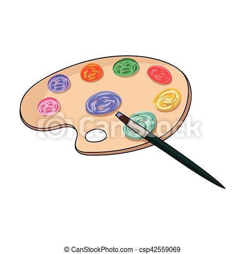 Palette Illustration Artiste Symbole Style Isolé Arrière Plan Vecteur Pinceau Blanc Icône Peinture Dessin Dessin Animé Stockage