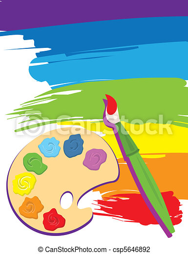 Palette, paintbrush and canvas - csp5646892