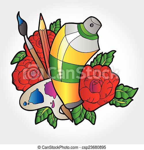 Palette Peinture Brosse Roses Coloriage Vaporisation