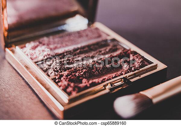 palette, tonalités, nue, écrasé, sombre, poudre, fond, fards paupières, rougir - csp65889160