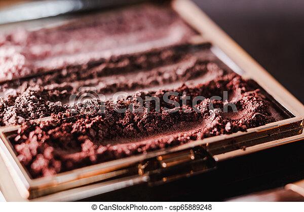 palette, tonalités, nue, écrasé, sombre, poudre, fond, fards paupières, rougir - csp65889248
