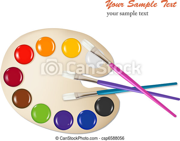 Palette With Color Paints And Brush