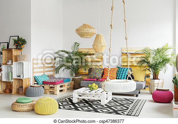 Palette, Zimmer, Retro, Möbel   Csp47386377