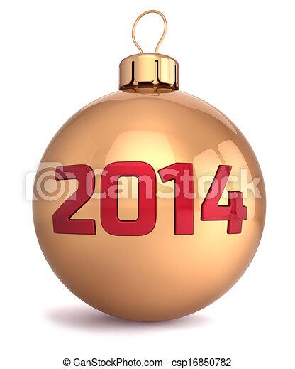 palla, anno, natale, nuovo, 2014, fronzolo - csp16850782