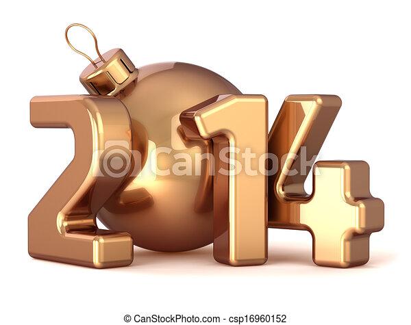 palla, anno, natale, nuovo, 2014, fronzolo - csp16960152