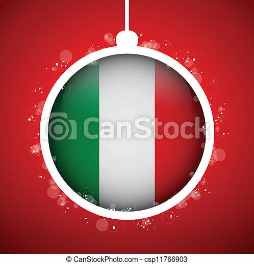 Buon Natale Italia.Palla Bandiera Italia Buon Natale Rosso Palla Italia Bandiera Vettore Buon Natale Rosso Canstock