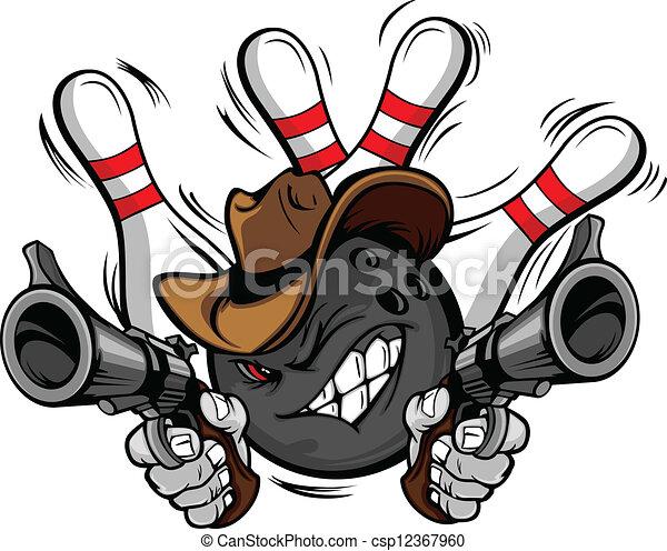palla, bowling, cowboy, cartone animato, shootout - csp12367960