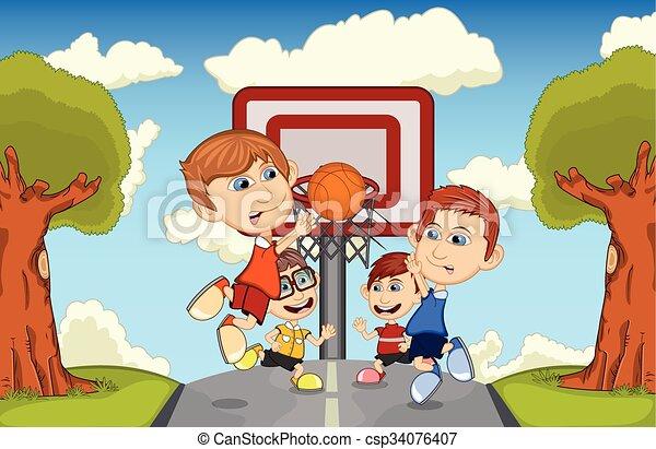 pallacanestro, bambini giocando - csp34076407