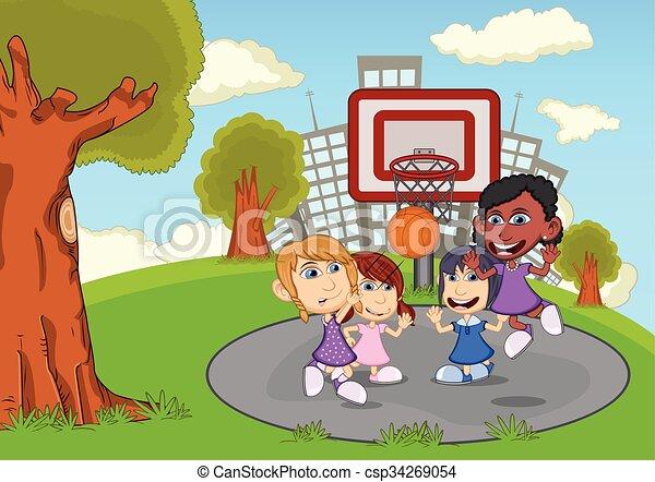pallacanestro, bambini giocando - csp34269054