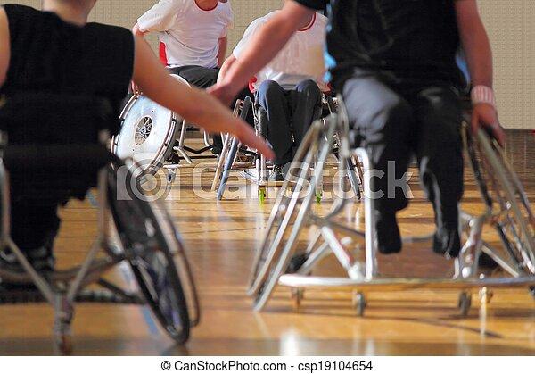 pallacanestro sedia rotelle, utenti, fiammifero - csp19104654