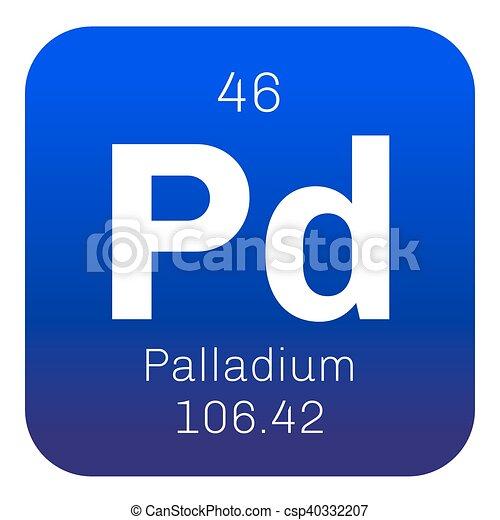 Palladium Chemical Element Belongs To Platinum Group Vector