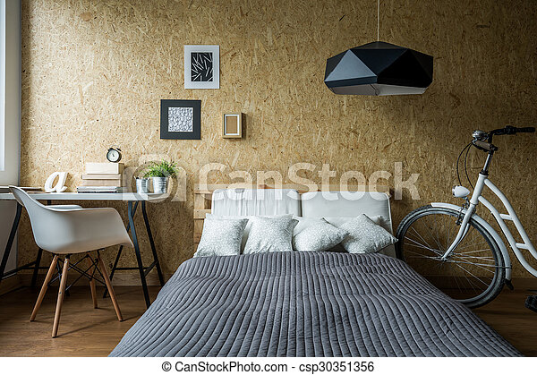 Pallet bed in ecological bedroom - csp30351356