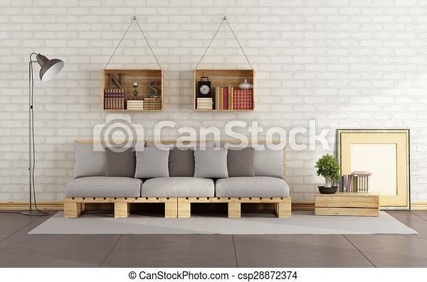 Pallet, soggiorno, divano. Soggiorno, interpretazione, cassa legno ...