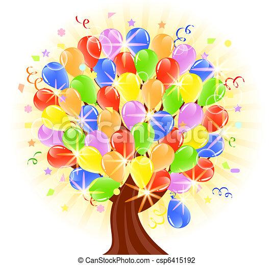 palloni, vettore, albero, illustrazione - csp6415192