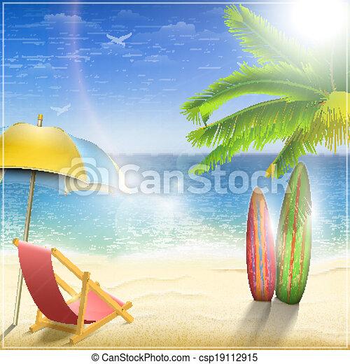 palm., ensoleillé, océan, côte - csp19112915