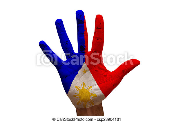 Palm Flag Philippines Man Hand Painted Of