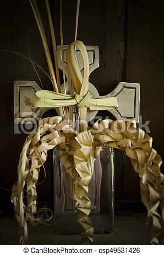 Palm leaf decorative cross - csp49531426