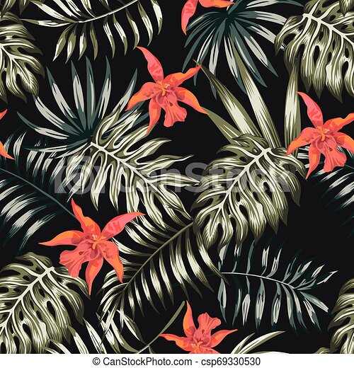 Palm Leaves Flowers Black Background Pattern Seamless Exotic Composition From Tropical Banana Monstera Palm Leaves And Canstock 72,000+ vectors, stock photos & psd files. https www canstockphoto com palm leaves flowers black background 69330530 html