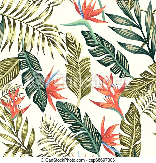 Palm Leaves Tropical Flowers Seamless White Background Seamless Vector Pattern Of Tropical Palm Leaves And Flowers Fashion Canstock 750 tropical leaf white background stock vector art and graphics. https www canstockphoto com palm leaves tropical flowers seamless 68697306 html