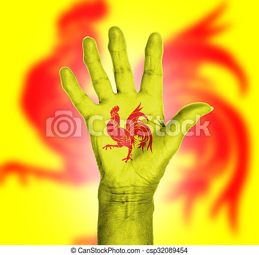 Palm of a woman hand, painted with flag - csp32089454