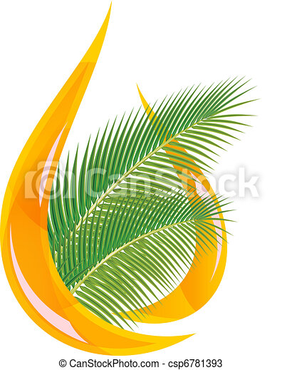 Palm oil. Stylized drop of oil and palm leaves. - csp6781393