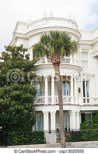 Palm Tree by Three Story Veranda - csp13020555