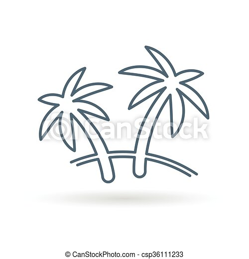 Palm Tree Icon Coconut Tree Sign Paradise Tropical Tree Symbol