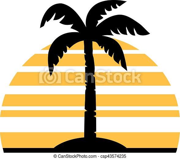 palm tree in front of a retro sun vectors search clip art rh canstockphoto com