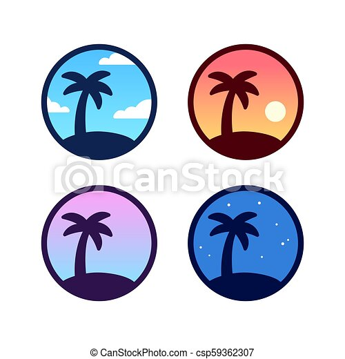 Palm Tree Logo Set Palm Tree Icon Set With Different Sky Background Color Day Night Sunset Simple Tropical Palm Canstock 794 x 1122 jpeg 27 кб. https www canstockphoto com palm tree logo set 59362307 html