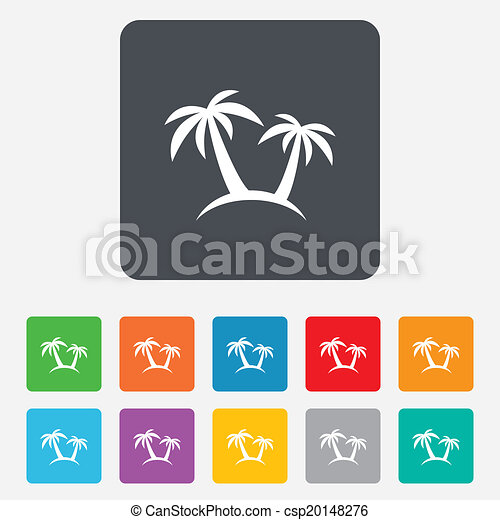 Palm Tree Sign Icon Travel Trip Symbol Rounded Squares 11 Buttons