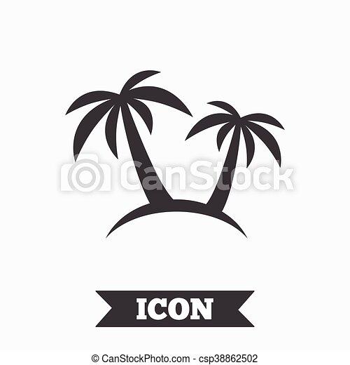 Palm Tree Sign Icon Travel Trip Symbol Graphic Design Element