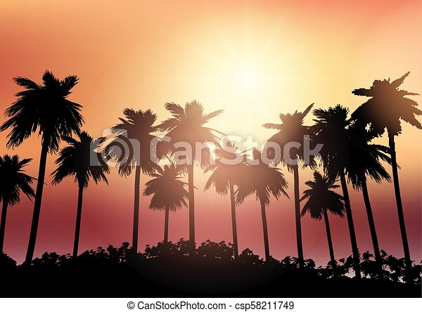 Palm tree silhouettes against a sunset sky - csp58211749