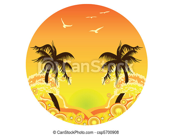 Palm Tree Sunset - csp5700908
