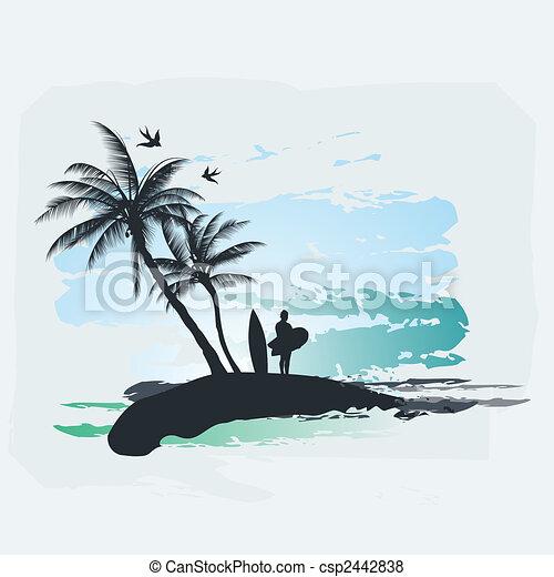 Palm tree Surf - csp2442838