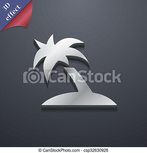 Palm Tree Travel Trip Icon Symbol 3d Style Trendy Modern Design