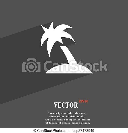 Palm Tree Travel Trip Icon Symbol Flat Modern Web Design With Long