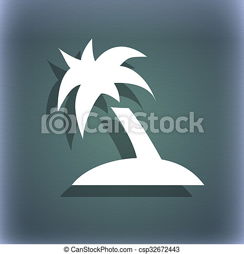 Palm Tree Travel Trip Icon Symbol On The Blue Green Abstract