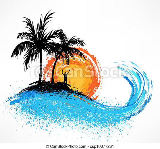 Palm trees and ocean wave. Sunset - csp10077261