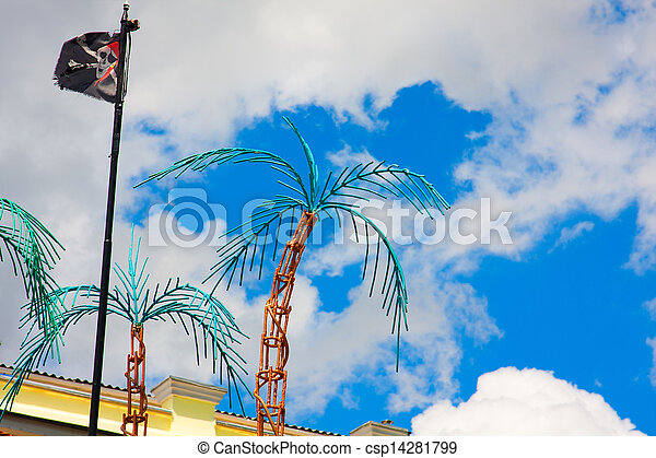 palm trees and pirate flag - csp14281799