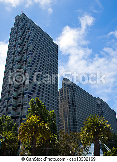 Palm Trees in an Urban Setting with Modern Buildings - San Francisco, CA USA - csp13332169