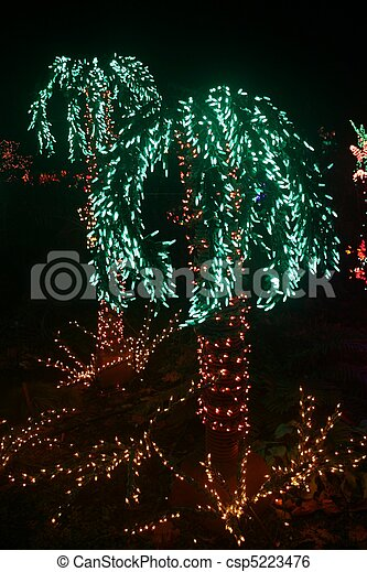 Palm Trees Made of Lights - csp5223476