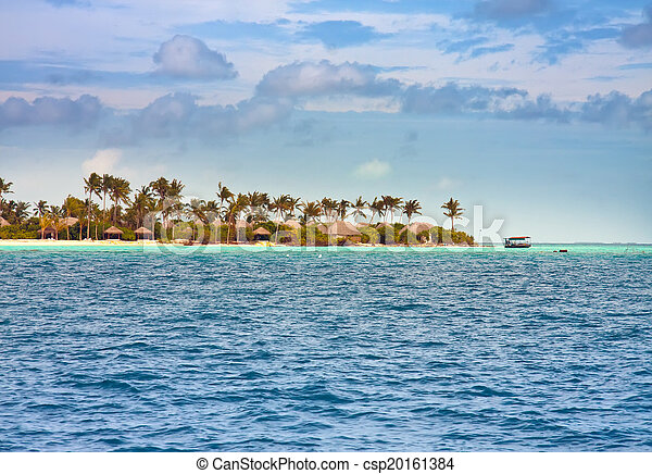 Palm trees on island in the sea - csp20161384