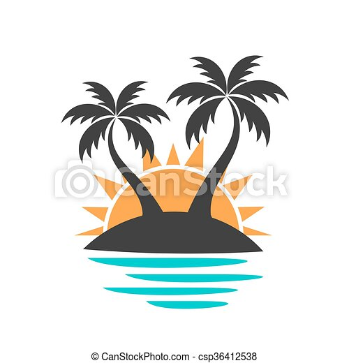 palm trees on the island vector illustration vectors search clip rh canstockphoto com Palm Tree Vector Art Island with Palm Tree Cartoon