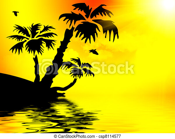 Palm Trees Silhouette At Sunset Stock Illustration