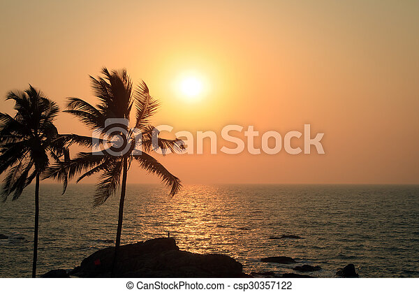 Palm Trees Silhouette At Sunset - csp30357122