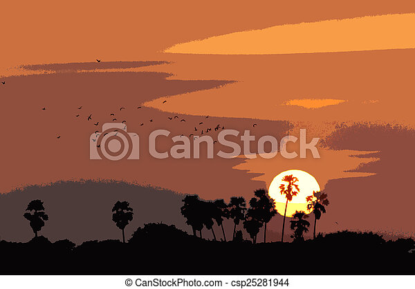 palm trees silhouette on sunset - csp25281944