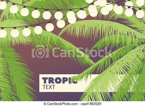 Palm trees with yellow garlands - csp41863529