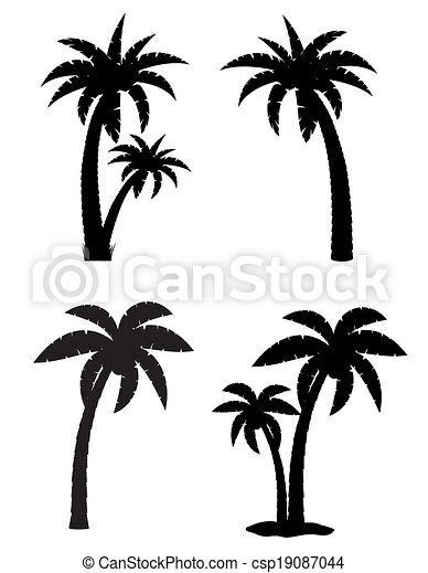 palm tropical tree set icons black silhouette vector illustration isolated on white background - csp19087044