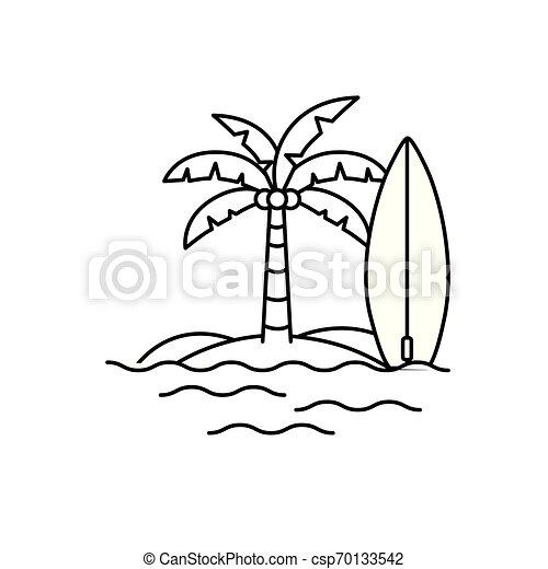 Palm Tree con tabla de surf en fondo blanco - csp70133542