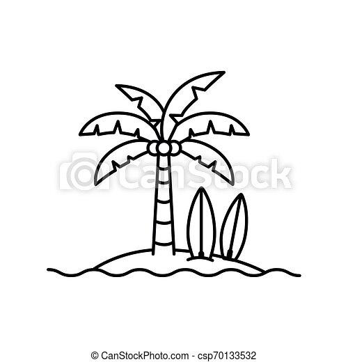 Palm Tree con tabla de surf en fondo blanco - csp70133532